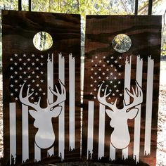 Deer Hunting Flag Cornhole Set With Bags – Hunting Ideas Diy Cornhole Boards, Cornhole Set, Deer Corn, Painted Corn Hole Boards, Bean Bag Boards, Cornhole Designs, Deer Family, Diy Wood Projects, Outdoor Projects