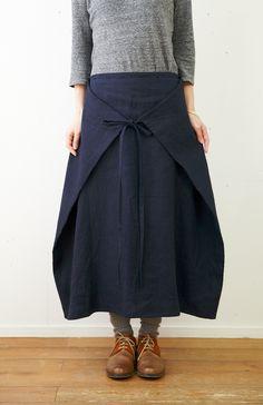 Versatile tie skirt! SARA x JIJI オックスリネンフォールドスカート - poooL (online shop)