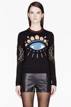c4ac1ced Kenzo Black & Gold big Eye Embroidered Sweater - ShopStyle Crewnecks &  Scoopnecks