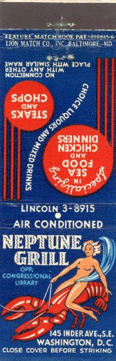 Neptune Grill - Washington DC (vintage matchbook cover)