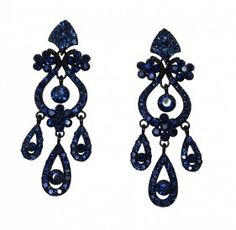 Breathtaking Navy Blue Crystal Chandelier Earrings Crystals Are Set Against Black Tone Metal