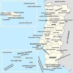 Porque é importante saber rir de nós próprios: um mapa de Portugal feito com muito humor