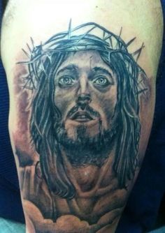 What does jesus tattoo mean? We have jesus tattoo ideas, designs, symbolism and we explain the meaning behind the tattoo. Jesus Tattoo, Tattoos With Meaning, Lion Sculpture, Statue, Portrait, Animals, Art, Ideas, Tattoos