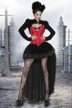 Luxusvampirkostüm Halloweenkostüm Premium Set mit Corsage, Rock, Bolero! Vampirinkostüm