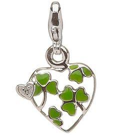 Silver & Enamel Shamrock Heart Charm set with Real Diamond