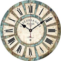 Amazon.com : french country bedrooms colors Style Vintage, Vintage Design, Vintage Wood, Vintage Walls, Retro Design, Retro Vintage, Wall Clock Wooden, Rustic Wall Clocks, Wooden Walls