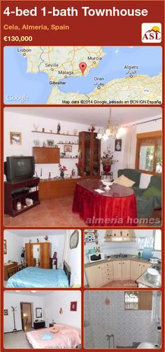 Townhouse for Sale in Cela, Almeria, Spain with 4 bedrooms, 1 bathroom - A Spanish Life Murcia, Family Bathroom, Spacious Living Room, Large Bedroom, Rustic Kitchen, Game Room, Townhouse, Property For Sale, Furniture