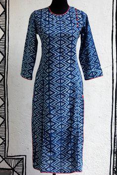 long kurta - indigo & side potli – maati crafts