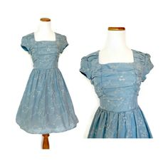 Blue Eyelet 50s Style Party Dress // 90s Does 50s Dress // Full Skirt Day Dress // Cap Sleeve Dress // 1950s Retro Style Eyelet Dress by GoodLuxeVintage on Etsy
