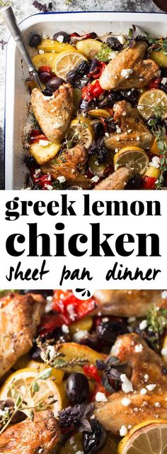 Want to make an easy, healthy chicken recipe for dinner? This Greek sheet pan dinner is baked in the oven but so much better than a casserole! Clean ingredients, quick prep and naturally gluten free - plus it will be a hit with the kids! Greek lemon chicken is a favorite, and all the veggies, feta cheese and delicious flavors make it so yummy. Add this simple weeknight recipe to your meal plan next week! via @savorynothings