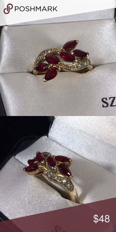 Sterling Silver Ross Simons Ruby & CZ Ring Size 9 Vintage Sterling Silver Ross Simons Ruby & CZ Ring Size 9 marked 9 R 925 & tested. Has s  Fabulous Gold Wash,  Prong Set Stones, fully finished under gallery. All Stones intact. Such a Beautiful Ring. would make a great Valentine's Day Gift or treat yourself. Jewelry Rings
