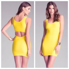 BEBE BODYCON CUT OUT BACK DRESS Dress worn once in Vegas, in GREAT condition. Size P/S. Color is hot yellow and shiny stretchy nylon fabric. No stains, rips or tears! Gotta wear this sexy fitted dress at least once! BEBE staple dress. (Free shipping offered if purchased from merc!) bebe Dresses