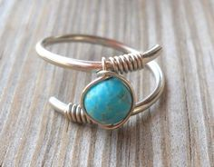 Turquoise Wrapped Silver Wire Twisted Ring | pavlos - Jewelry on ArtFire