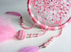 Dreamcatcher, crochet dream catcher, baby mobile, nursery decor, beaded doily dreamcatcher, home house decoration, pink