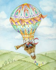Off to Adventure The Boy and Cat in a Hot Air Balloon by Tinadh, $25.00