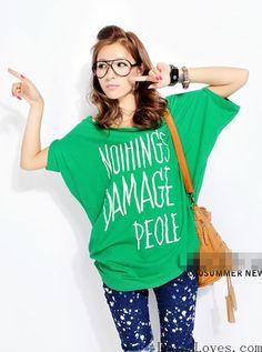 Women Cotton Off Shoulder Batwing Letter Print Green T-Shirt M/L/XL@A2078gr