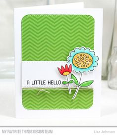 Handmade card from Lisa Johnson featuring Springtime Blooms Stamp Set and Die-namics, Horizontal Stitched Strips Die-namics, Stitched Rounded Rectangle STAX Die-namics from My Favorite Things #mftstamps