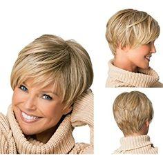 Tonake 0081 elegante parrucca corta bionda parzialmente ondulata resistente al calore per donne
