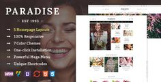 Paradise - Responsive WooCommerce WordPress Theme Paradise is a eCommerce WordPress theme that is ideal for any online stores, specially for flower stores. This WooCommerce Wordpress template comes with a flexible layout with 5 homepage layouts, 7 color schemes, creative design and ultimate core features to build an outstanding flower shop.