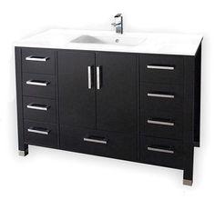 "Bathroom Vanity 48""W Available in Dark Espresso or White Finish"