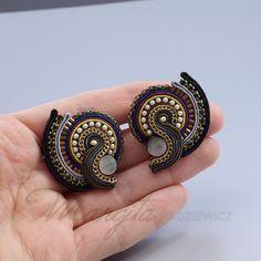 Black Earrings, Statement Earrings, Textile Jewelry, Beaded Jewelry, Powwow Beadwork, Earrings Handmade, Handmade Jewelry, Soutache Necklace, Jewelry Patterns