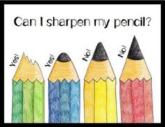 Can I Sharpen My Pencil? FREE Pencil Sharpener Sign I created this sign for my pencil sharpener to address the problem of students getting up to sharp. 2nd Grade Classroom, Kindergarten Classroom, Future Classroom, School Classroom, Classroom Routines, Classroom Posters, Classroom Ideas, Classroom Signs, Classroom Organisation