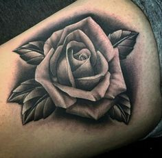 black and grey rose tattoo