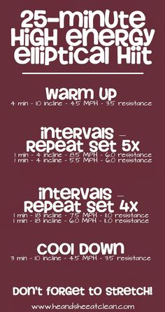 If you are looking for something new to do at the gym, this is it! Hop on the elliptical and follow this High Intensity Interval Training (HIIT) workout to get you in tip top shape! We recommend you do HIIT 2-3 times/week. For more workouts, go to HeandSheEatClean.com #workout #exercise #HIIT #elliptical #cardio