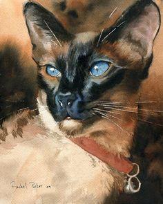 Siamese Cat Seal Point Art Painting Print of my by rachelsstudio