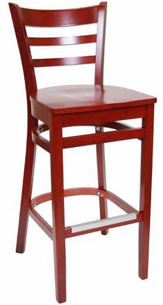 red wood bar stool