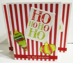 Handmade Christmas Cards HO HO HO Set of Three Red and White Stripes by luvncrafts for $7.00