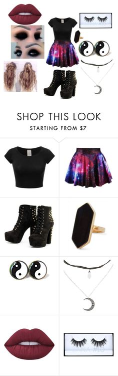 """Galaxy Girl"" by thatgothchic on Polyvore featuring Jaeger, Lime Crime and Huda Beauty"