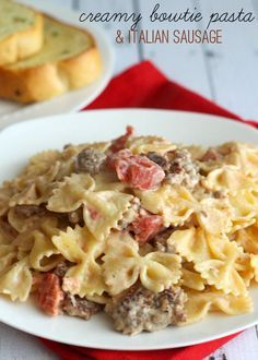 Italian Sausage with Bowtie Pasta - easy and delicious! { lilluna.com } #recipes