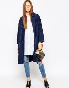 Image 4 ofASOS Denim Longline Jacket in Indigo with Tobacco Stitching