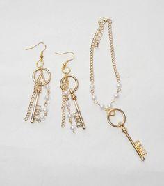 Peace Key Charm Bracelet and Earring Set Upcycled Artisan