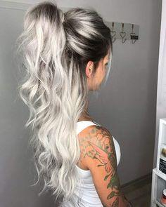 Middle Part Long Ombre Wavy Party Synthetic Wig Related Charming Long Blonde Hairstyles & Haircuts for 2018 - HaareGoals 2019 - HaareThe 15 Biggest Hair-Color Trends of 2019 - Substantive Pelo Color Gris, Hot Hair Colors, Silver Hair Colors, Silver Hair Styles, Wild Hair Colors, Hair Colours 2018, Fun Hair Color, Silver Color, Hair Color Ideas