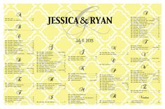 Wedding Seating Chart -- better than doing last minute escort cards.  Would work great for a rehearsal dinner, birthday, anniversary or shower. www.charmingpapershop.etsy.com