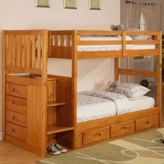 discovery world furniture weston twin over twin bunk bed with stairs and storage finish honey