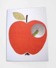 """Geburtstag - enna Klappkarte """"Apfel"""" - ein Designerstück von enna bei DaWanda"""