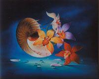 Nautile aux orchidées 1988 huile sur toile  © Marcel Pétron - Nouméa, Nouvelle-Calédonie #MarcelPetron #gouttedeau #nautile #orchidées #fleurs