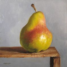 "MICHAEL NAPLES. 'Red Stripe' Oil on 1/4"" Board. Approx 6""x6"" SOLD. ""I love picking out fruit for their unique features. I'm that guy who sits in the pear section and looks at way too many of them before I decide on which one I'm buying."""