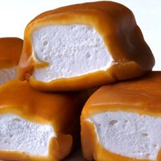 Caramel-wrapped marshmallows. This is just so sick and wrong but better post to remember the idea!