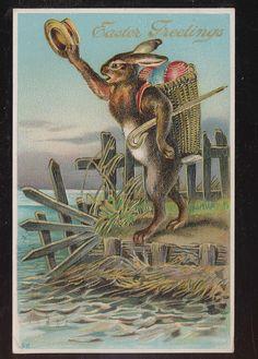 vintage Easter rabbit postcard
