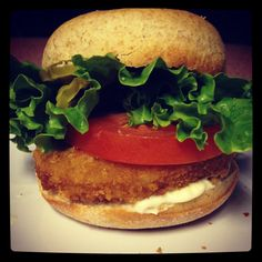 """Soulgood's """"No Cluckin' Way"""" Burger Wow! Low calorie, low fat, organic, vegetarian and packed with flavor!"""