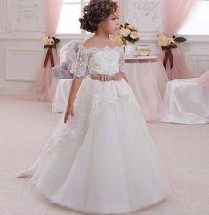 Girls Ivory Lace Rhinestone Dress