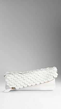 White The Petal in Leather with Patent Embellishment