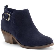 SONOMA Goods for Life™ Women's Suede Ankle Boots (2,320 PHP) ❤ liked on Polyvore featuring shoes, boots, ankle booties, blue, zip ankle boots, blue boots, suede booties, buckle boots and buckle booties