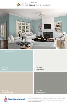 Brighten Your Life With These Living Room Color Ideas - Wohnung - Haus Design Ideen Paint Colors For Home, Living Room Paint Color Scheme, Home, Basement Remodel Diy, Monochromatic Living Room, Bedroom Paint, Living Room Designs, House Colors, Living Room Paint