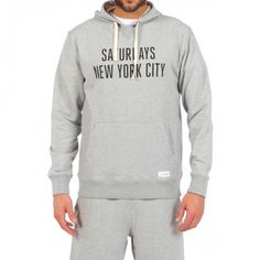 MELANGE GRAY COTTON SWEATSHIRT WITH SATURDAYS NEW YORK CITY WRITING Mélange gray cotton hooded sweatshirt with chest pocket. Contrast SATURDAYS NEW YORK CITY brand name print on front. Saturdays Surf NYC label stitched on hem. COMPOSITION: 100% COTTON. Model wears size L, he is 189 cm tall and weighs 86 Kg.