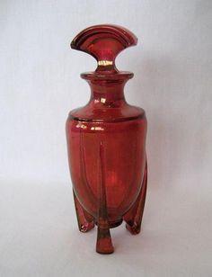 ANTIQUE VINTAGE GORGEOUS ART DECO CRANBERRY GLASS FOOTED PERFUME BOTTLE